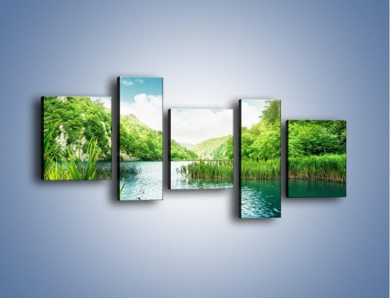 Obraz na płótnie – Wodnym śladem wśród zieleni – pięcioczęściowy KN884W7