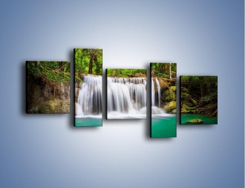 Obraz na płótnie – Kąpiel w środku lasu – pięcioczęściowy KN995W7