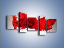 Obraz na płótnie – Czerwona róża i kobieta – pięcioczęściowy L144W7