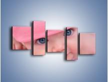 Obraz na płótnie – Bobas w różowej czapeczce – pięcioczęściowy L256W7
