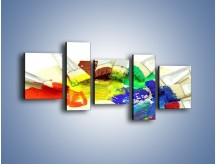 Obraz na płótnie – Kolory pędzlem malowane – pięcioczęściowy O046W7