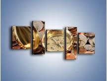 Obraz na płótnie – Kompas zatopiony w monetach – pięcioczęściowy O089W7