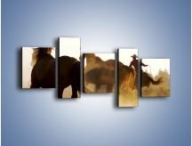 Obraz na płótnie – Cowboy wśród koni – pięcioczęściowy Z206W7