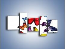 Obraz na płótnie – Kolorowo wśród motyli – pięcioczęściowy Z236W7