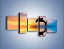 Obraz na płótnie – Delfin i jego odbicie – pięcioczęściowy Z268W7