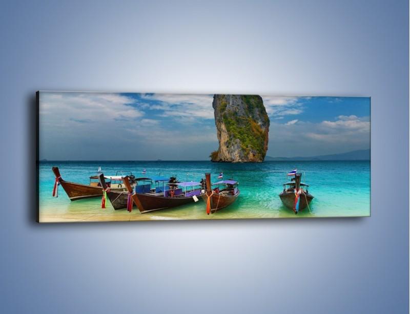 Obraz na płótnie – Przymocowane łódeczki do brzegu – jednoczęściowy panoramiczny KN657