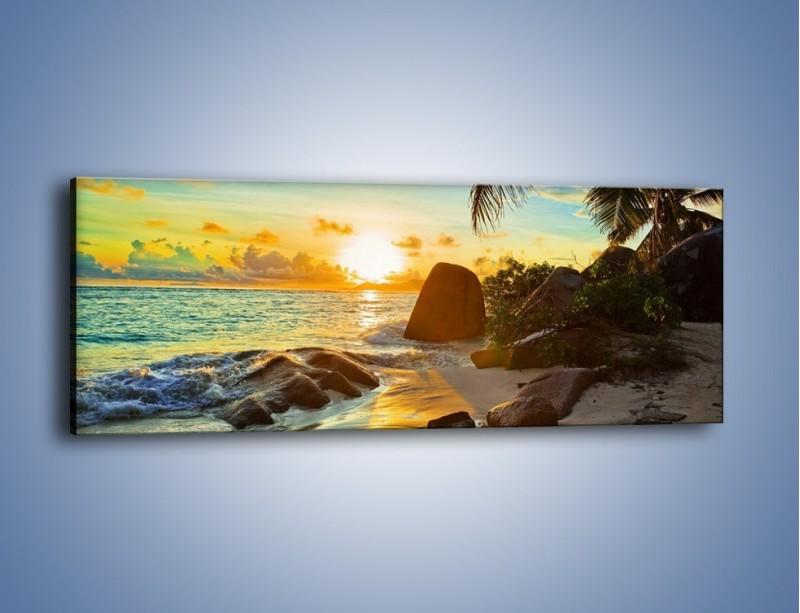 Obraz na płótnie – Spacer na bezludnej wyspie – jednoczęściowy panoramiczny KN671