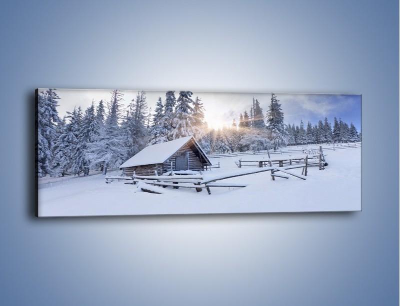 Obraz na płótnie – Chatka zatopiona w śniegu – jednoczęściowy panoramiczny KN696