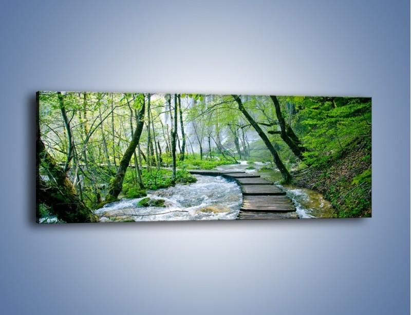 Obraz na płótnie – Drewniana kładką przez potok – jednoczęściowy panoramiczny KN720