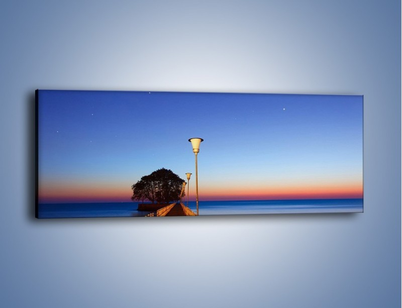 Obraz na płótnie – Wieczorny spacer po tafli morza – jednoczęściowy panoramiczny KN759
