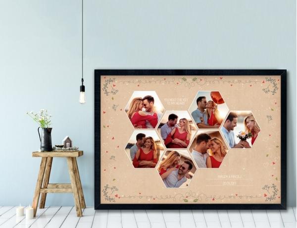 Plakat lub Obraz - Zdjęcia wśród szlaczków i serduszek 1