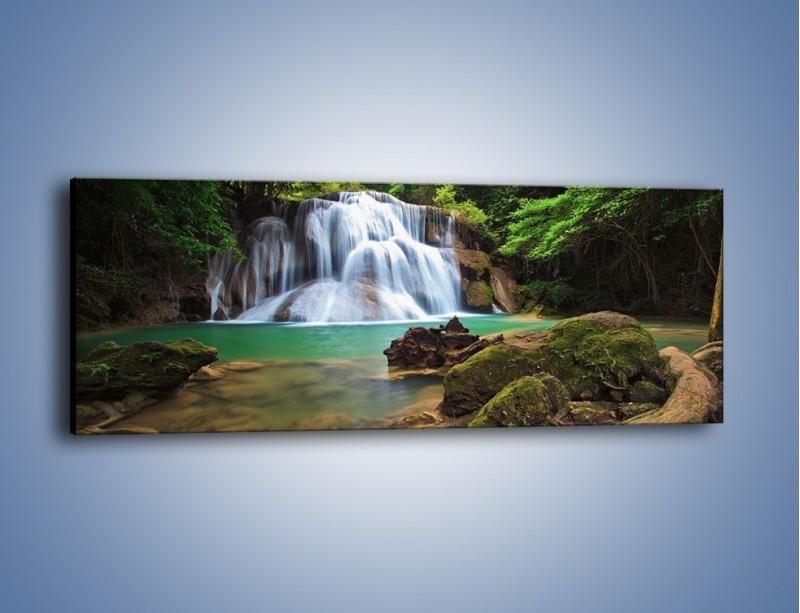 Obraz na płótnie – Drzewa schowane za wodospadem – jednoczęściowy panoramiczny KN792