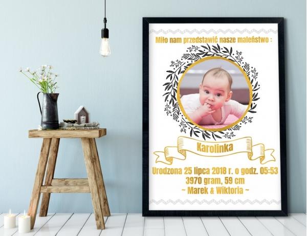Plakat lub Obraz - Metryczka ze złotymi elementami