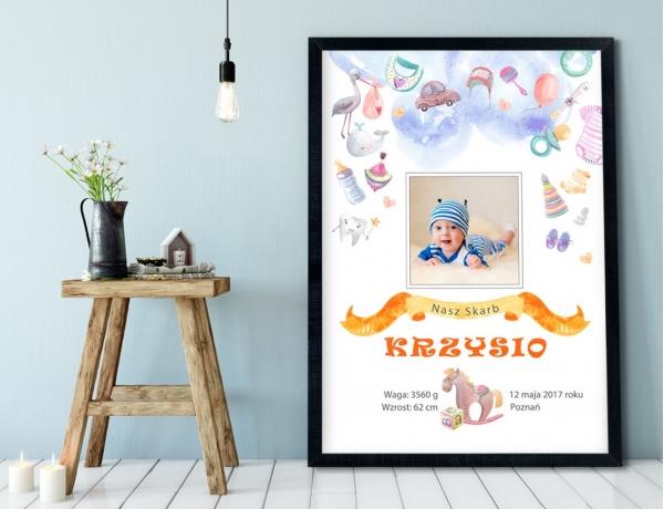 Plakat lub Obraz - Metryczka z pastelowymi rysunkami