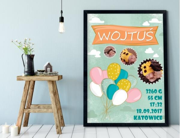 Plakat lub Obraz - Metryczka z balonami