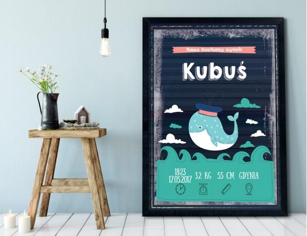 Plakat lub Obraz - Metryczka z wesołym wielorybkiem
