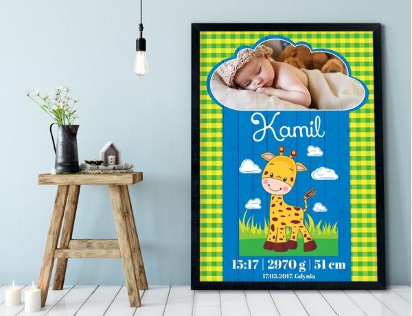 Plakat lub Obraz - Metryczka z uśmiechniętą żyrafą