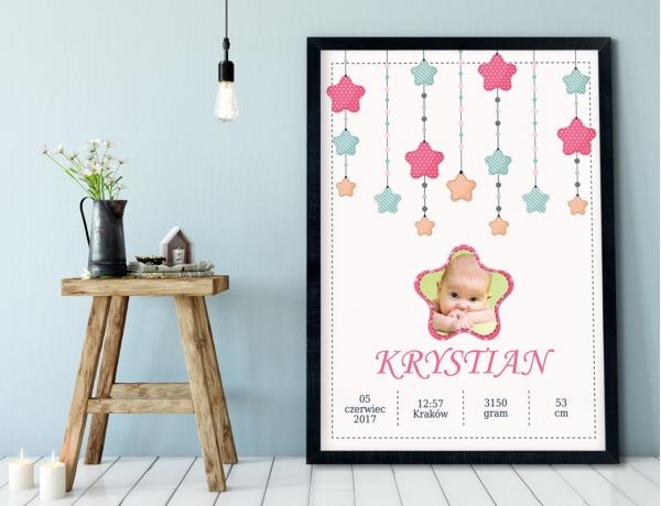 Plakat lub Obraz - Metryczka z gwiazdami