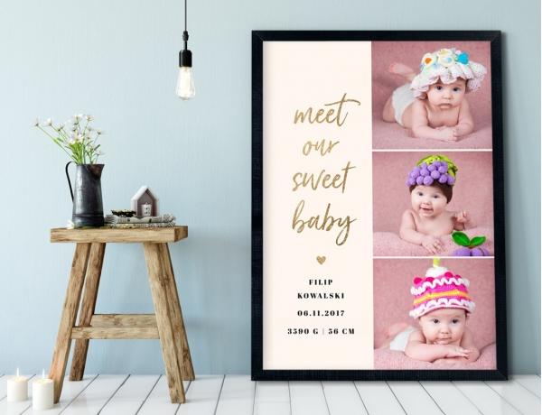 Plakat lub Obraz - Metryczka Meet Our Sweet Baby
