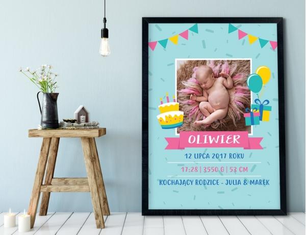 Plakat lub Obraz - Metryczka z tortem i prezentami