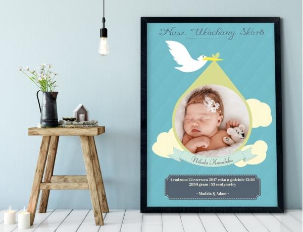 Plakat lub Obraz - Metryczka bocian z prezentem dla rodziców