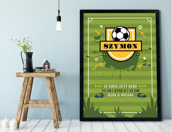 Plakat lub Obraz - Metryczka dla przyszłego piłkarza
