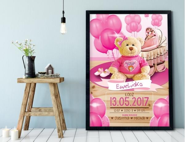 Plakat lub Obraz - Metryczka dla słodkiej dziewczynki