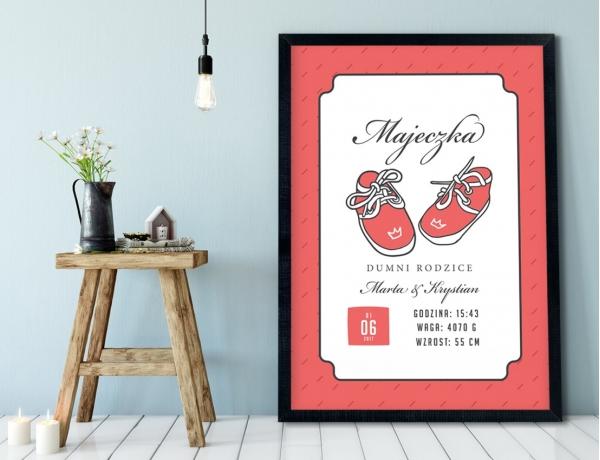 Plakat lub Obraz - Metryczka z bucikami dla dziewczynki