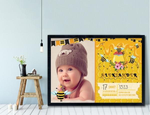 Plakat lub Obraz - Metryczka z pszczółkami