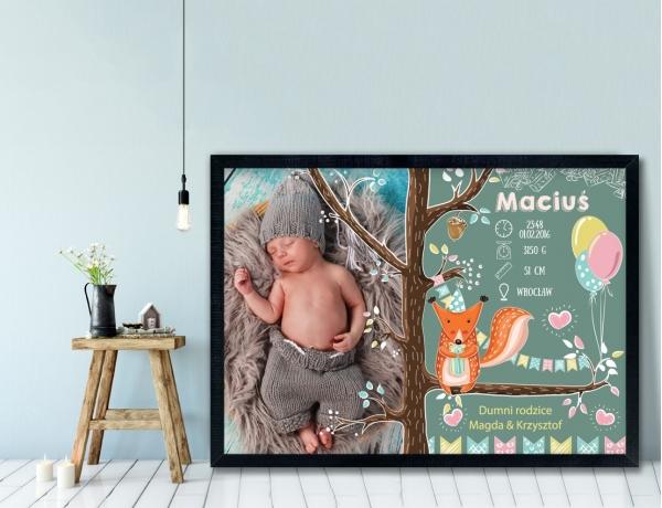 Plakat lub Obraz - Metryczka z lisem