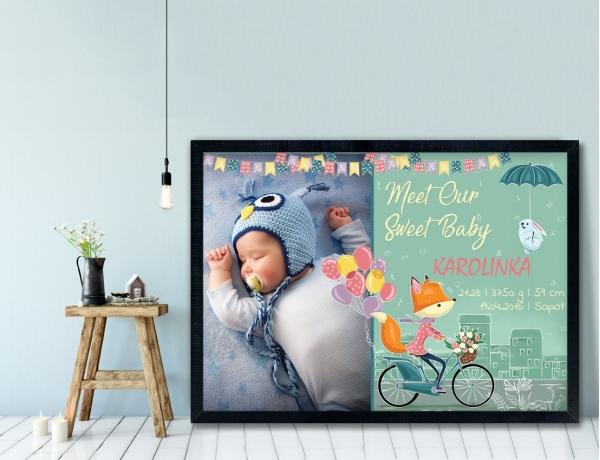 Plakat lub Obraz - Metryczka z liskiem na rowerze