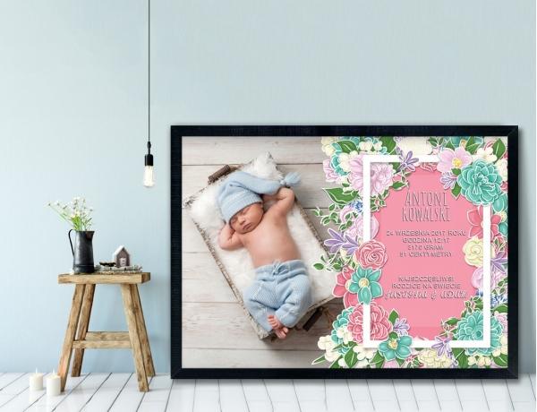 Plakat lub Obraz - Metryczka pełna kwiatów