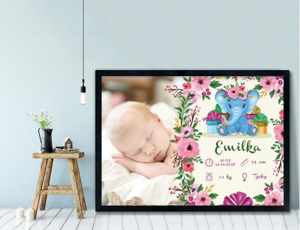 Plakat lub Obraz - Metryczka ze słoniątkiem i kwiatami