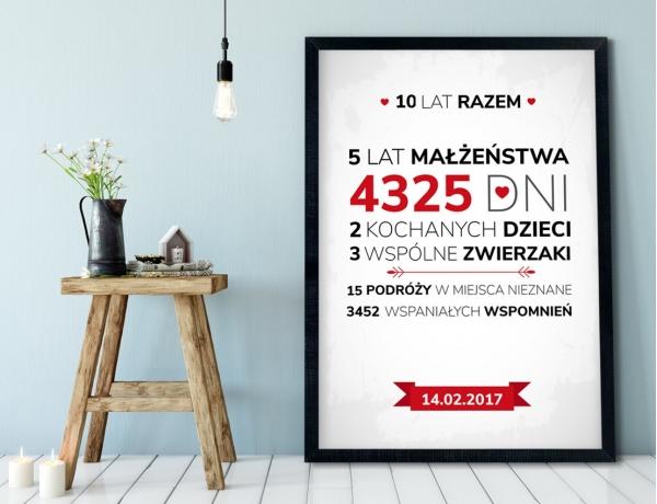 Plakat lub Obraz - Rocznica małżeństwa w liczbach
