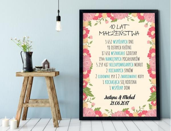 Plakat lub Obraz - Rocznica małżeństwa w liczbach wśród kwiatów