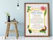 Plakat lub Obraz - Rocznica małżeństwa w liczbach z czterema kwiatami