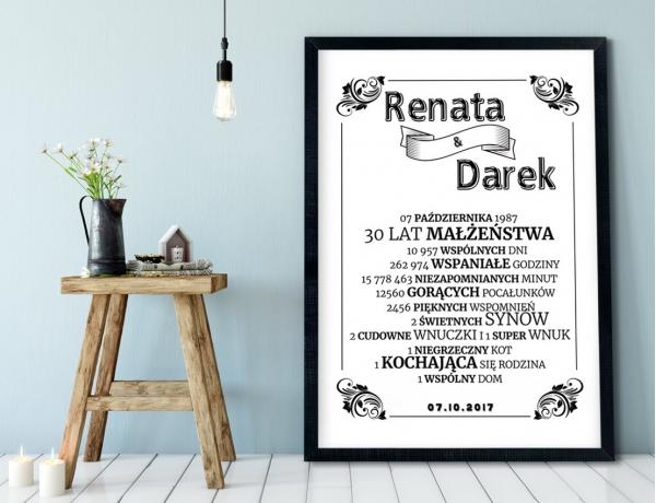 Plakat lub Obraz - Rocznica małżeństwa w liczbach w prostym stylu