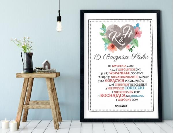 Plakat lub Obraz - Rocznica małżeństwa w liczbach z inicjałami w sercu