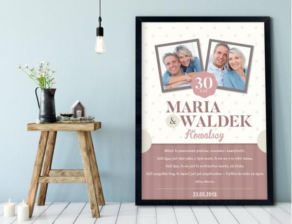 Plakat lub Obraz - Rocznica ślubu z cytatem Whartona