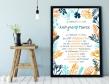 Plakat lub Obraz - Rocznica małżeństwa w liczbach otoczona kwiatami