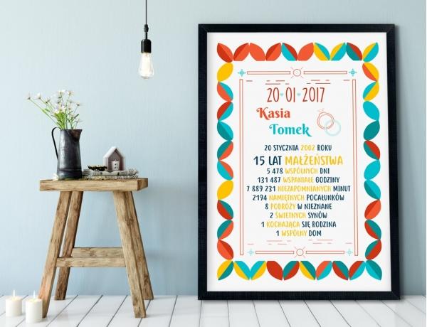 Plakat lub Obraz - Rocznica małżeństwa w liczbach w kolorowym stylu
