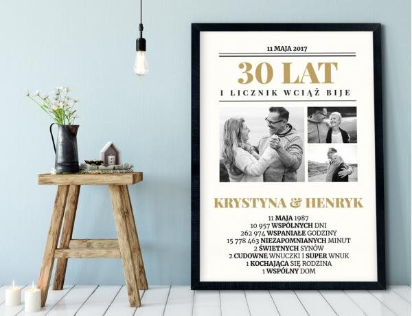 Plakat lub Obraz - Rocznica małżeństwa w liczbach jak z pierwszej strony gazety