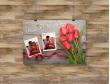 Plakat lub Obraz - Dwa zdjęcia obok tulipanów