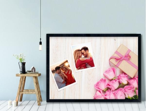 Plakat lub Obraz - Dwa zdjęcia obok róż i prezentu