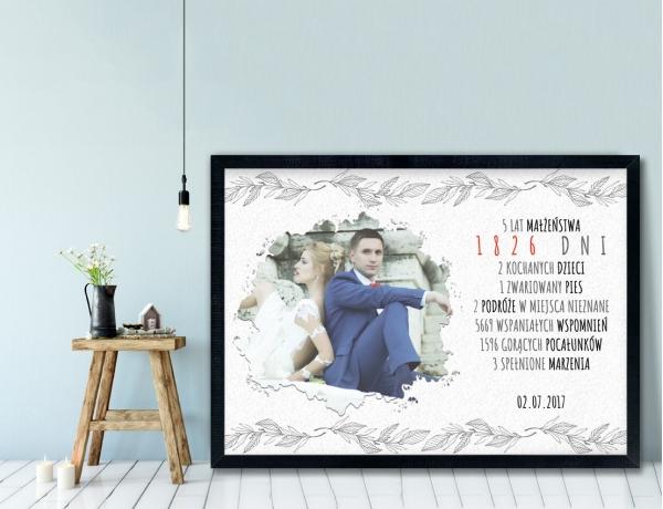 Plakat lub Obraz - Rocznica małżeństwa w liczbach w stonowanym tle