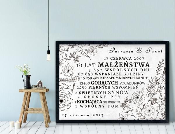 Plakat lub Obraz - Rocznica małżeństwa w liczbach w rysunkowym stylu