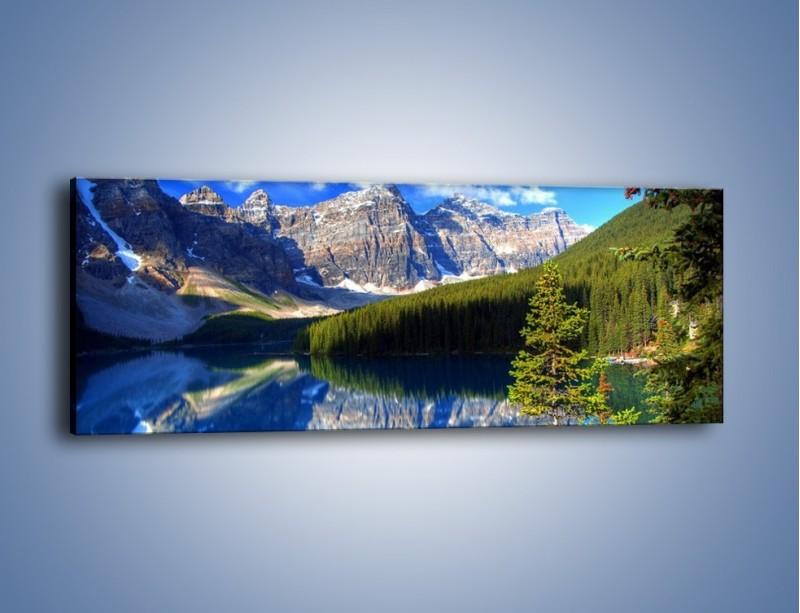 Obraz na płótnie – Góry i ich wodne odbicie – jednoczęściowy panoramiczny KN839