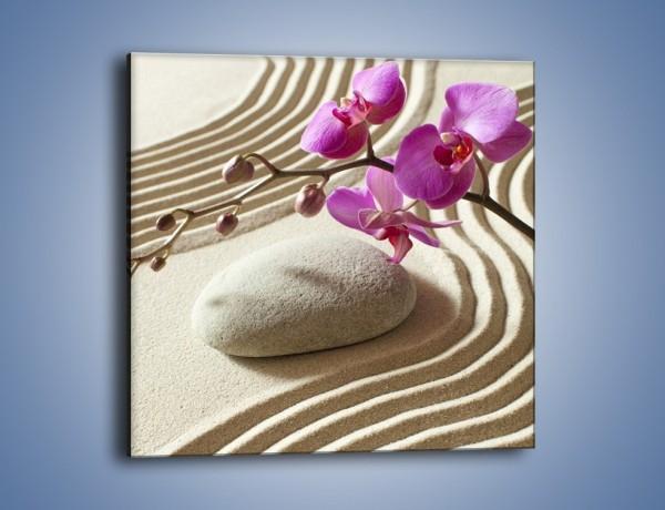 Obraz na płótnie – Wzór na piasku i kwiat – jednoczęściowy kwadratowy K432