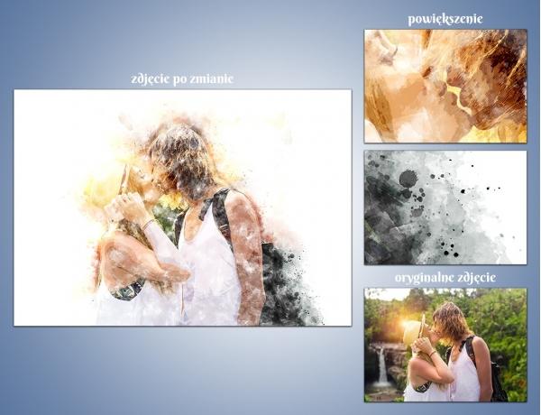 Artystyczna metamorfoza zdjęcia - Akwarelowe pluśnięcia