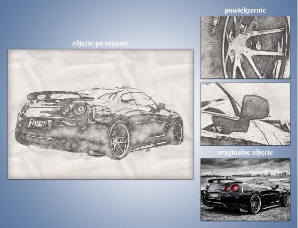 Artystyczna metamorfoza zdjęcia - Szkic ołówkiem na kartce papieru